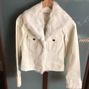 Bebe rabbit fur trim denim jacket